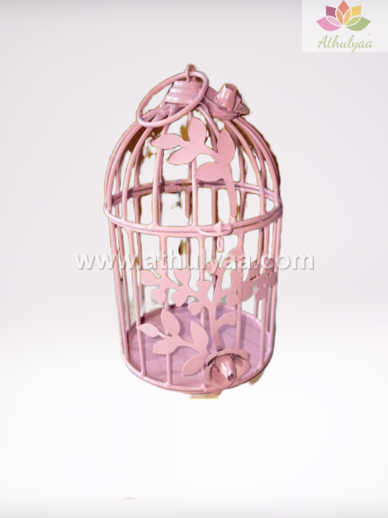 Metal Cage with floral vine - 8 Inch