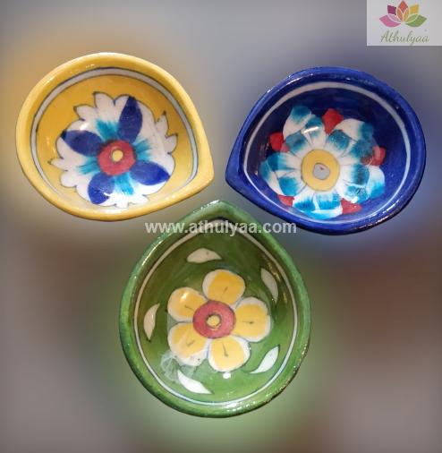 Blue pottery diyas