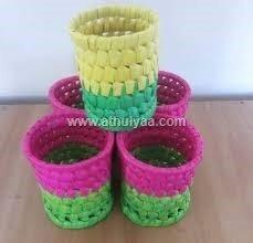 Palm leaf pen stand