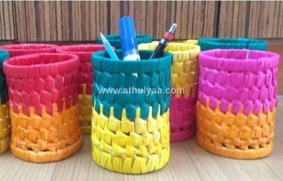 palm leaf pen stands