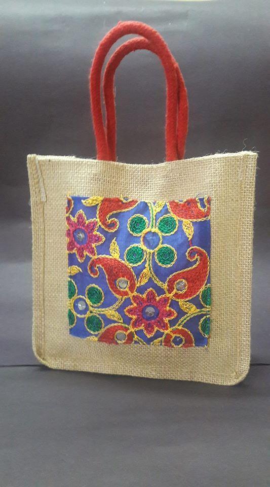 Jute bag with mirror work