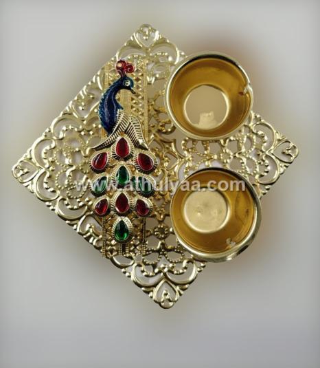 Peacock haldi kumkum holder on square plate