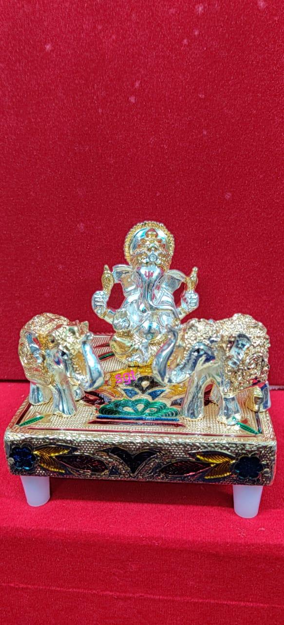 German silver Ganesh with elephants