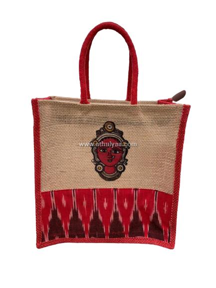 Ikkat Jute bag with Varalakshmi Print