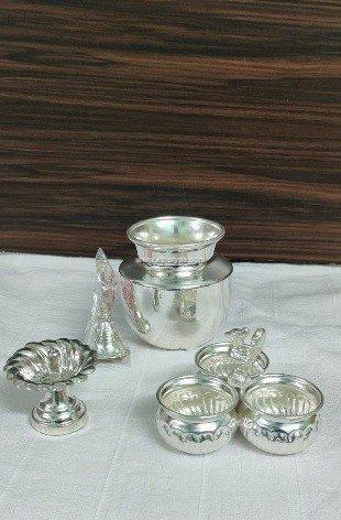 German silver pooja set