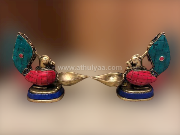 Brass antique Stone work Deepam-Pair