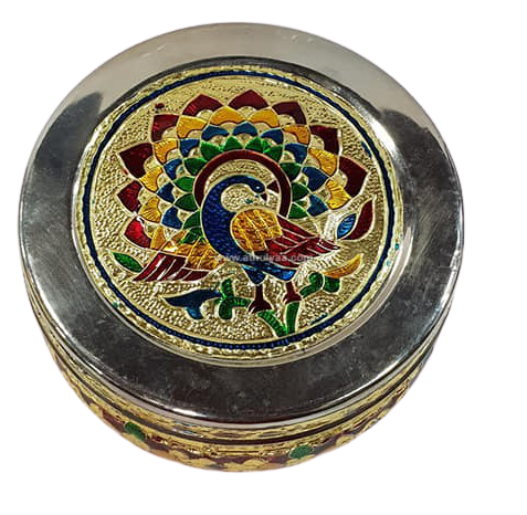 Meenakari Peacock Steel box - 4.5 Inches