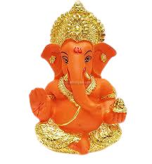 Terracota Ganesh with goldsilver mukut (1)