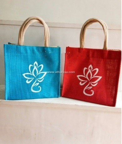 jute bag with flowerprint