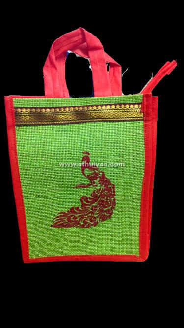 Jute bag with Peacock Print (1)
