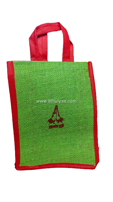 Jute bag with peacock Print